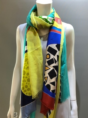 LARIOSETA(ラリオセタ)DPK62/10922 Col.1 シルクツイルプチスカーフ3枚縫い+周りモダール無地を縫い付けたスカーフ イタリア製