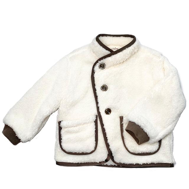 【ベビー服】アシンメトリーボアジャケット / オフホワイト / 80~100サイズ