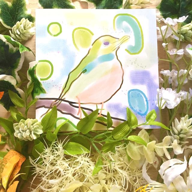 絵画 絵 ピクチャー 縁起画 モダン シェアハウス アートパネル アート art 14cm×14cm 一人暮らし 送料無料 インテリア 雑貨 壁掛け 置物 おしゃれ 水彩画 鳥 ロココロ 画家 : YUTA SASAKI 作品 : 小鳥の気持ち