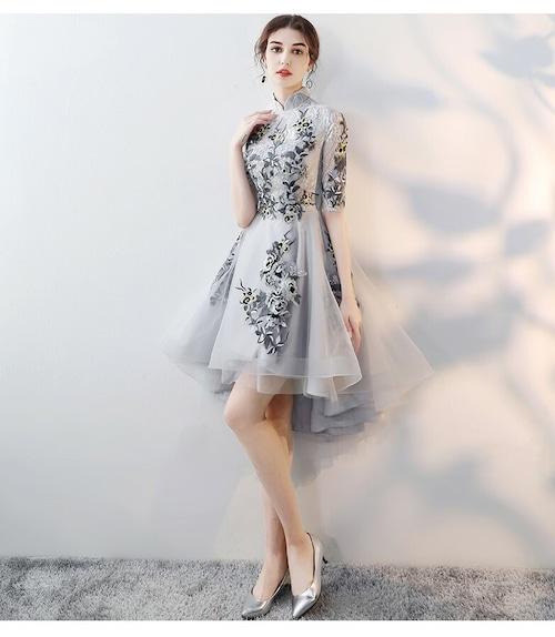 チャイナ風フィッシュテールドレス ショート丈 刺繡 レース レトロ 二次会 パーティー お呼ばれ wb044