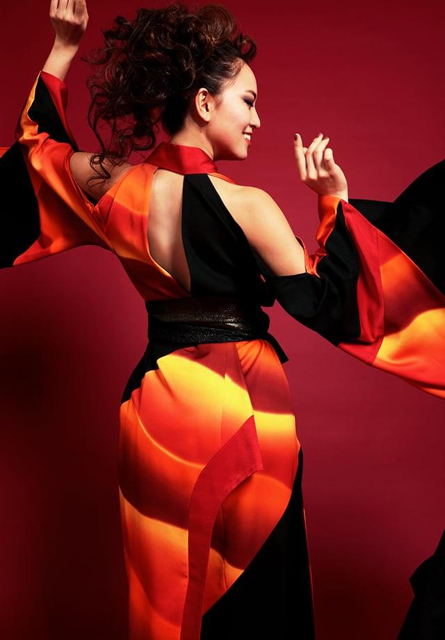 鳳凰ドレス(phoenix dress)Orange × Red × Black