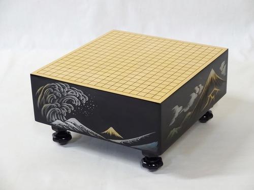 伝統工芸 漆芸沈金 ミニチュア碁盤 【北斎富士】