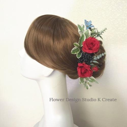 赤い薔薇とブルースターのヘッドドレス(17本セット)アーティフィシャルフラワー 赤 バラ 結婚式 発表会 髪飾り