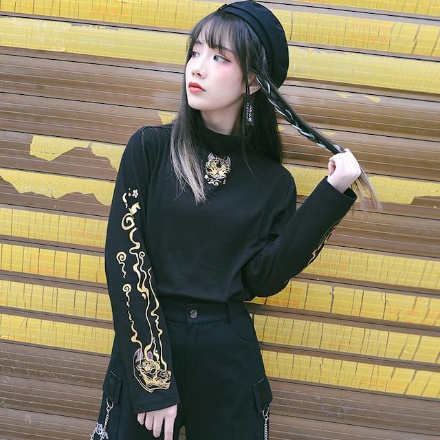 【古怪舍シリーズ】★Tシャツ★ 2color 上着 トップス プリント オリジナル M L ブラック ライトブルー 合わせやすい
