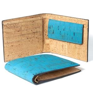 コンパクト二つ折り財布 ティール&ナチュラル