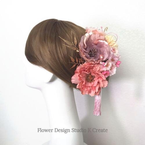 結婚式・成人式に♡モーブピンクの布花と桜のヘッドドレス(14本セット) ダリア 布花 結婚式 成人式