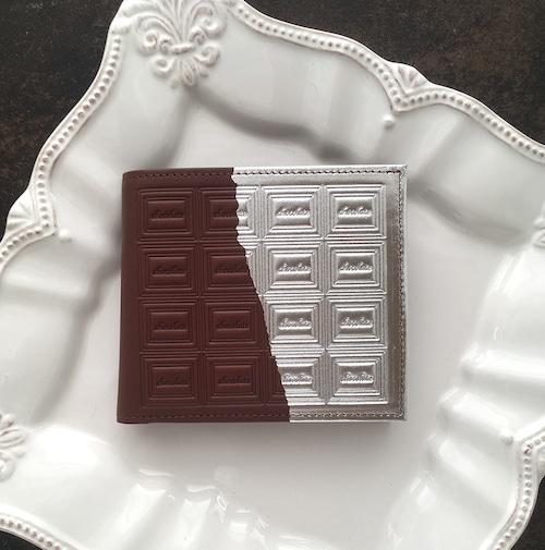 革のチョコ・二つ折り財布 スイート(銀の包み紙)