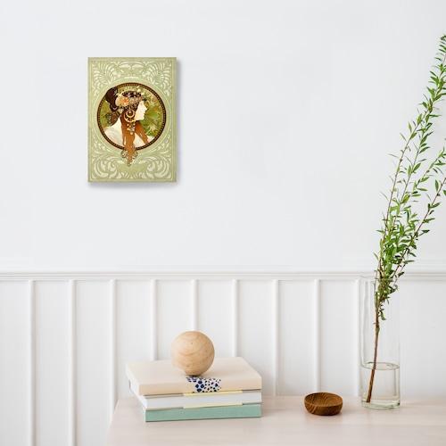 素敵なアートパネル A 4サイズ ビザンティン風の頭部-ブルネット アルフォンス・ミュシャ