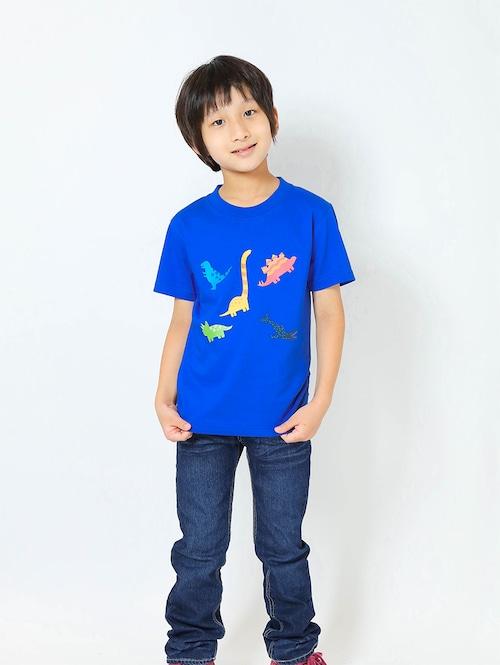恐竜プリントTシャツ(子供用・恐竜ミックス)ロイヤルブルー【KT-AS】