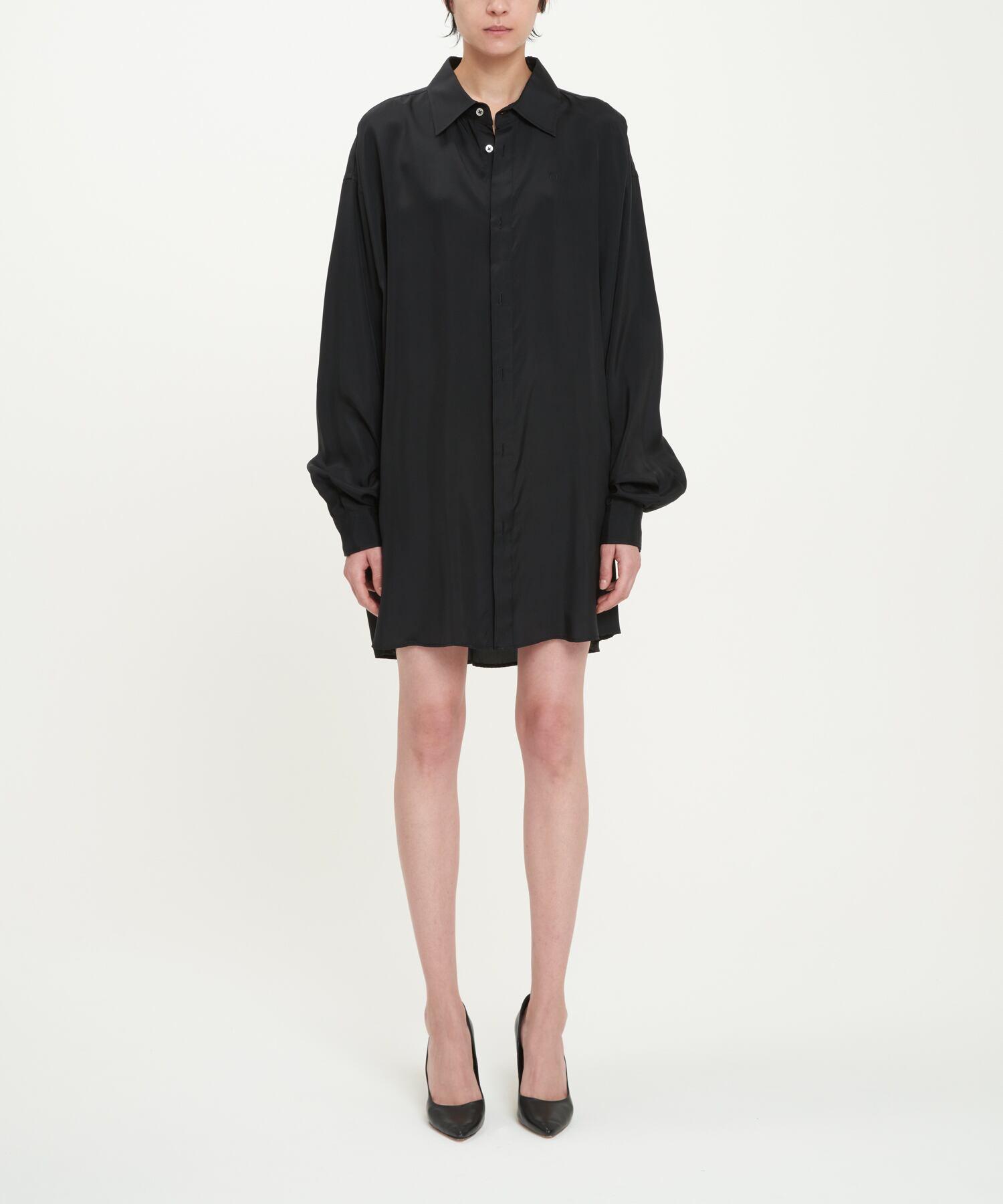 Black Double Buttonhole Oversized Cupro Shirt