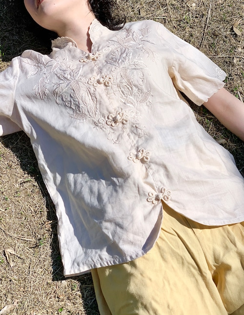 Vintage Hand Embroidered Cutwork Linen China Blouse