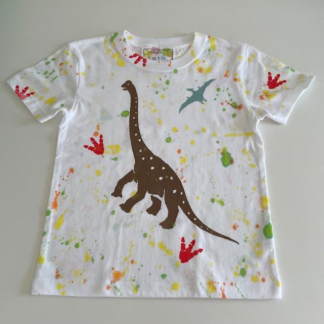 受注制作kidsTシャツ「足跡シリーズ ブラキオサウルスとプテラノドン」100cm~140対応