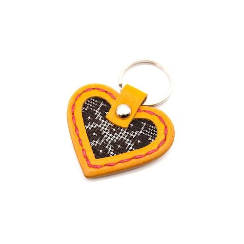 大島紬と本革のハートキーホルダー | 黄