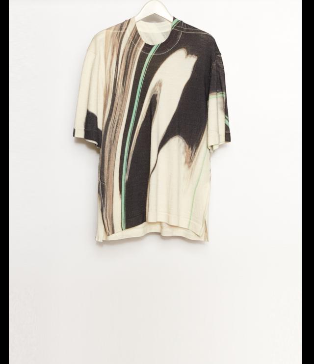 Printed Knit T-Shirt / Green