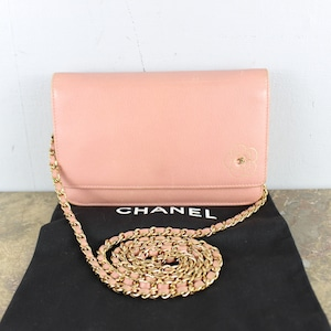 .CHANEL CAMELIA DESIGN COCO MARC LEATHER CHAIN WALLET MADE IN ITALY/シャネルカメリアデザインココマークレザーチェーンウォレットバッグ2000000055060