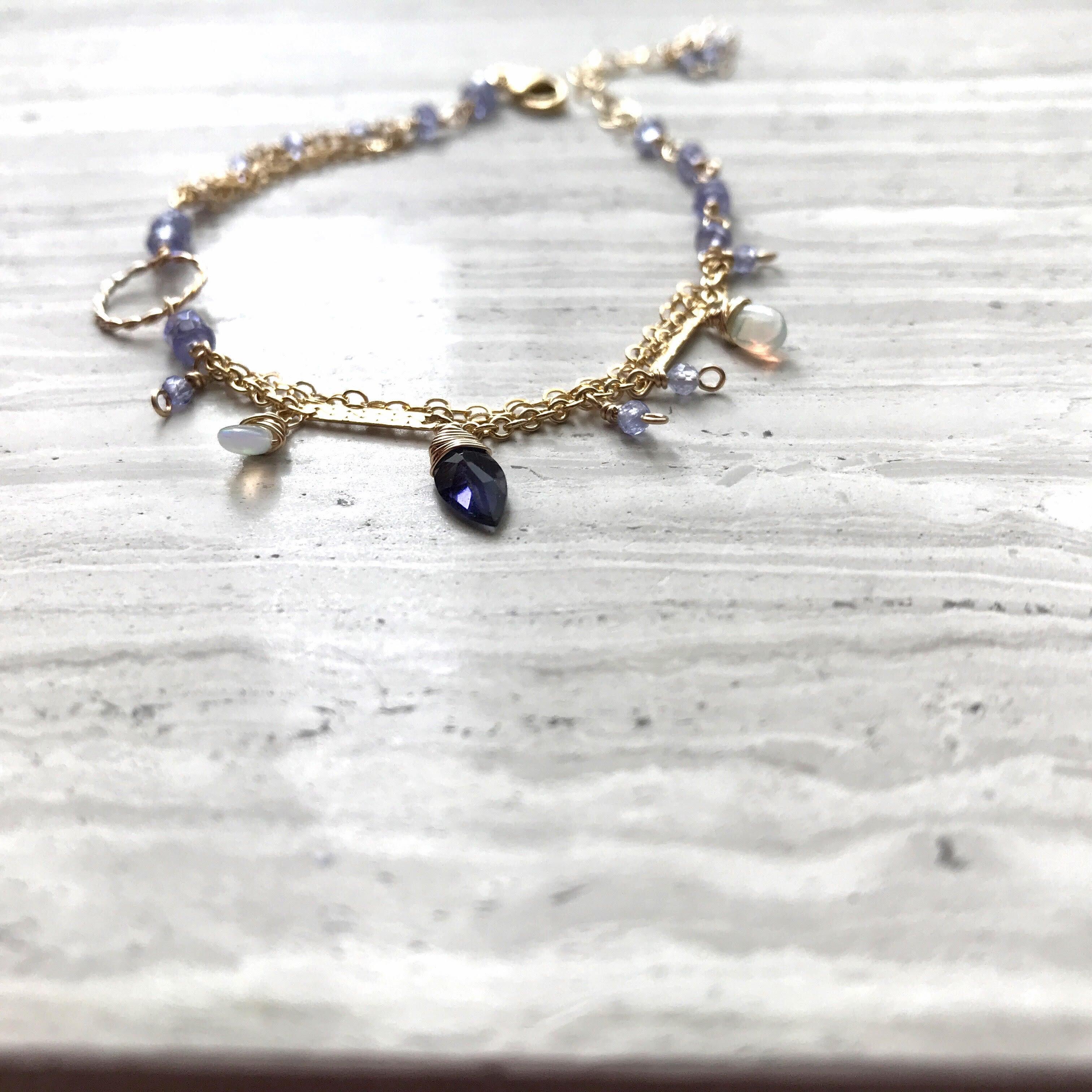 Tanzanite×Opal×Iolite Bracelet/K14 gf