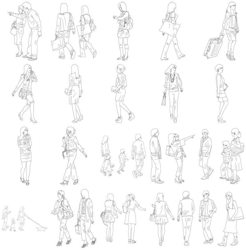 人物線画SketchUp素材 4up_line01_20_2 - 画像4