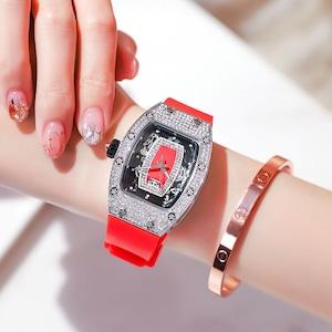 お洒落 綺麗め 華奢見せ ダイヤモンド レディース 腕時計<ins-2166>