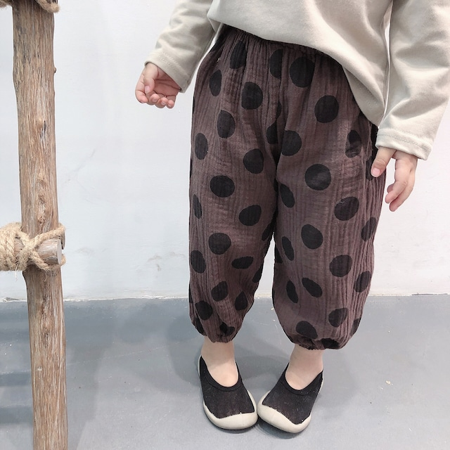 ポルカドットサルエルパンツ ブラウン【809】