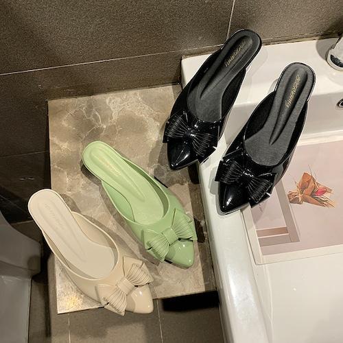 【Soervimy】 ラバーミュール レインシューズ ラバーサンダル ヒール4cm リボン 韓国ファッション レディース チャンキーヒール 雨 梅雨 ラバー 防水 617411672371