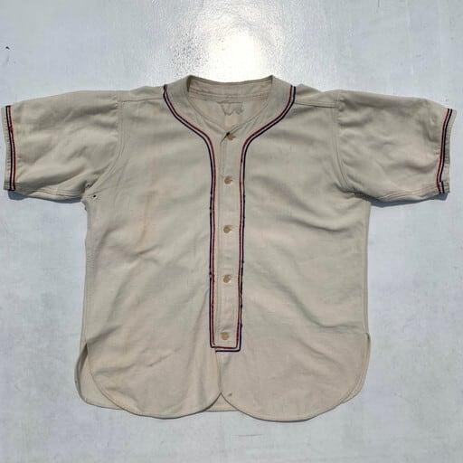 40's 50's UNKNOWN  ウール ベースボールシャツ 半袖  プレーン オフホワイト トリコロール  L位 希少 ヴィンテージBA-941 RM1310H