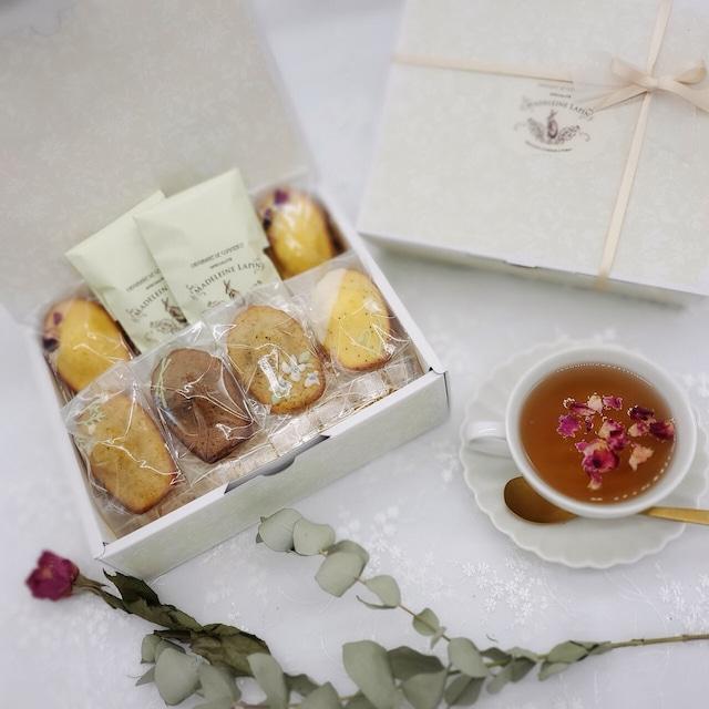 【5/1~5/9 お届け】お花のマドレーヌギフト6個入 紅茶セット 【4/19~4/25 予約受付】