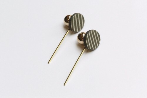 ilocami stick pierce/earring【CHARCOAL】
