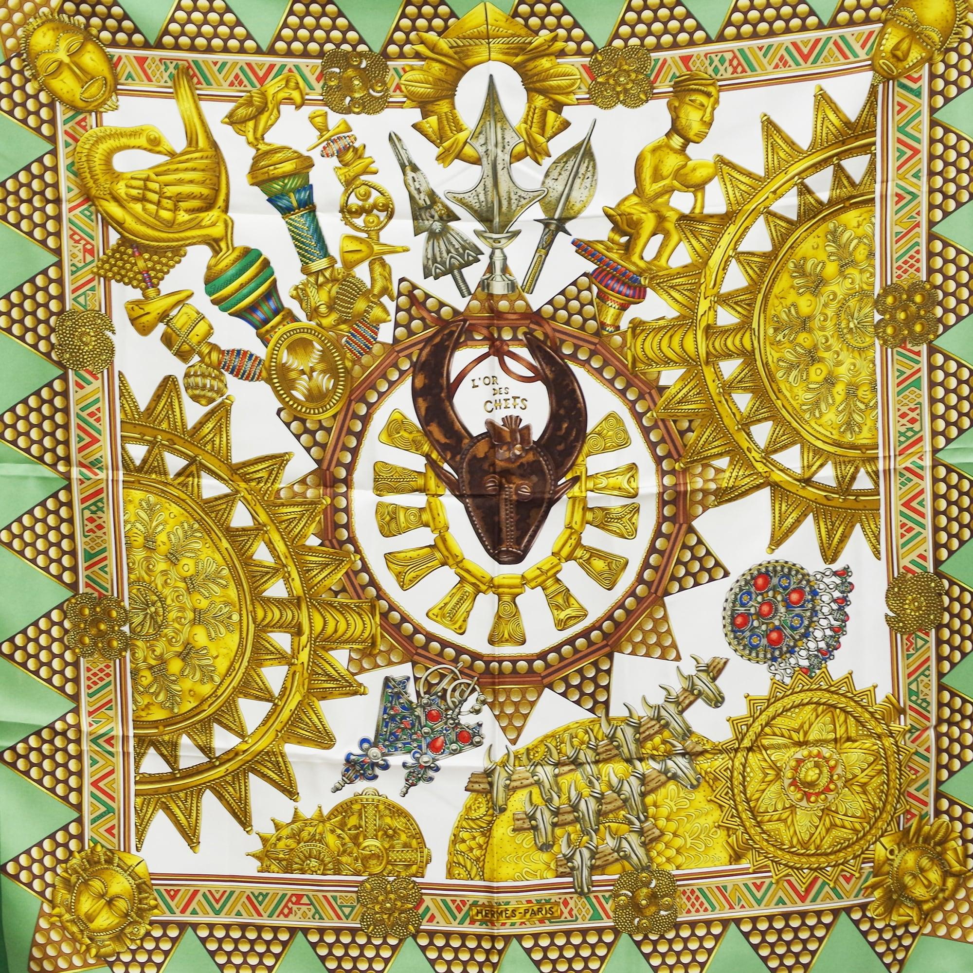 HERMES エルメス カレ 90   [首長達の金]スカーフ グリーン シルク アクセサリー