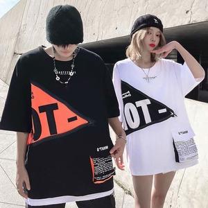 【トップス】男女兼用韓国系半袖ポケット付きプリントカジュアルTシャツ43649022