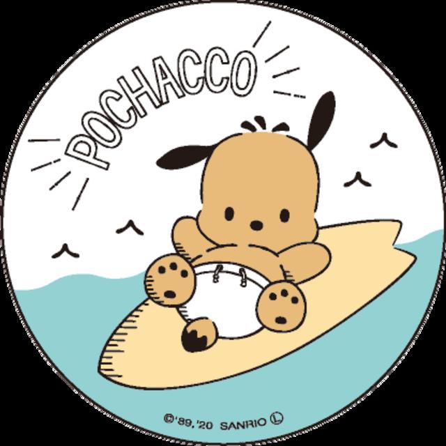 ポチャッコ cafe 限定コラボ缶バッヂ(サーフボード)