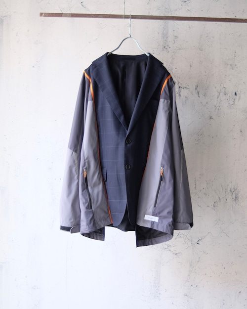 remake switching jacket (navy×gray nylon)
