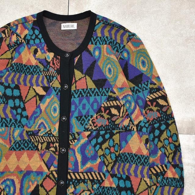 Psychedelic geom. pattern knit cardigan