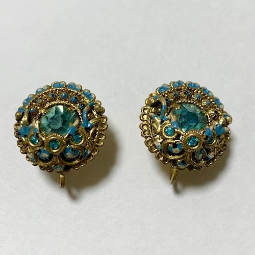 Vintage Sax Blue Bijoux & Enamel Earrings Made In Czechoslovakia