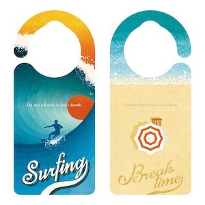 Surfing サーフィン中[1157]【全国送料無料】 ドアサイン ドアノブプレート