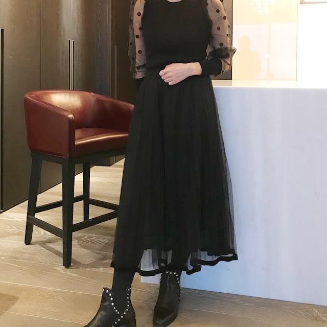 裾ベロア 二重チュールスカート