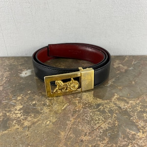 .CELINE CARRIAGE LOGO LEATHER BELT MADE IN ITALY/セリーヌ馬車ロゴレザーベルト2000000052380