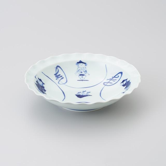 """【青花】""""間取異人"""" 輪花スープ皿"""