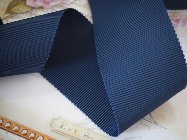 MOKUBA製リボン「グログラン8900☆No.19ネイビー」36mm