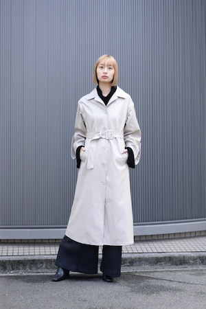 MARTE / Fake Leather Coat / Long vest (Light Gray)