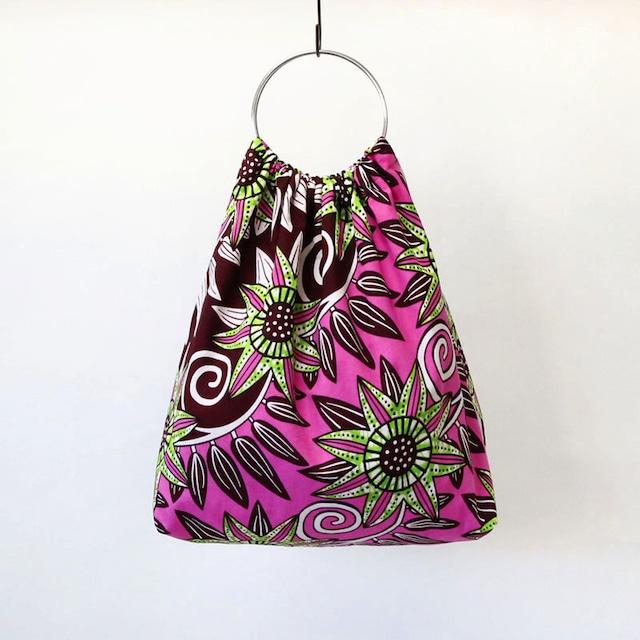 アフリカ布のリングハンドルバッグ カンガ / アフリカンプリント