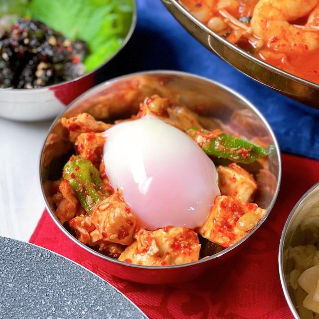 鶏むね肉と納豆の韓国風サラダ