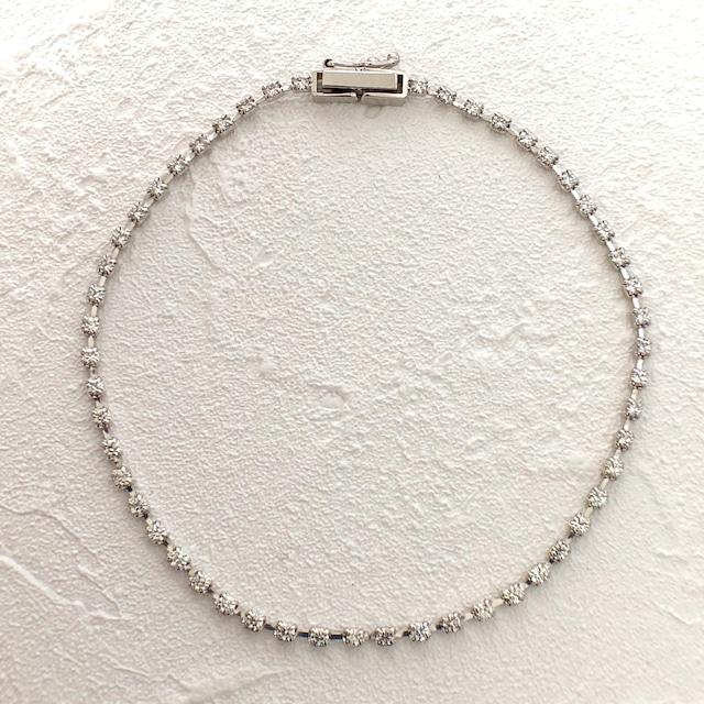 ハート& キューピッドカット ダイヤモンド ブレスレット 1.00ct K18ホワイトゴールド チェカ