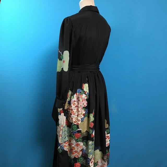 Vintage black 着物、花