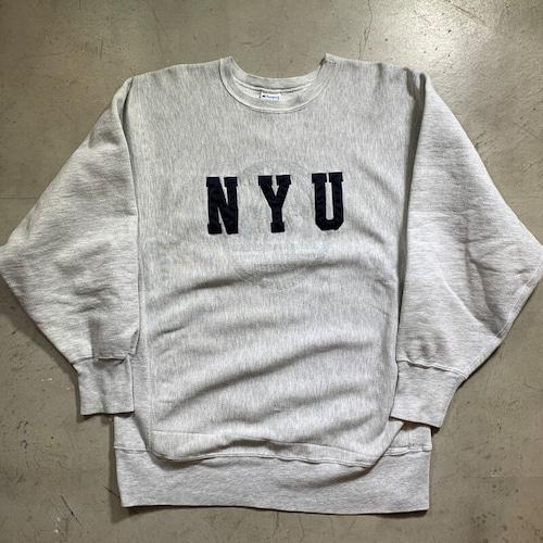 90's Champion チャンピオン リバースウィーブ スウェット NYU NEW YORK UNIVERSITY ニューヨーク大学 刺繍タグ カレッジ USA製 X-LARGE 希少 ヴィンテージ BA-1426 RM1795H