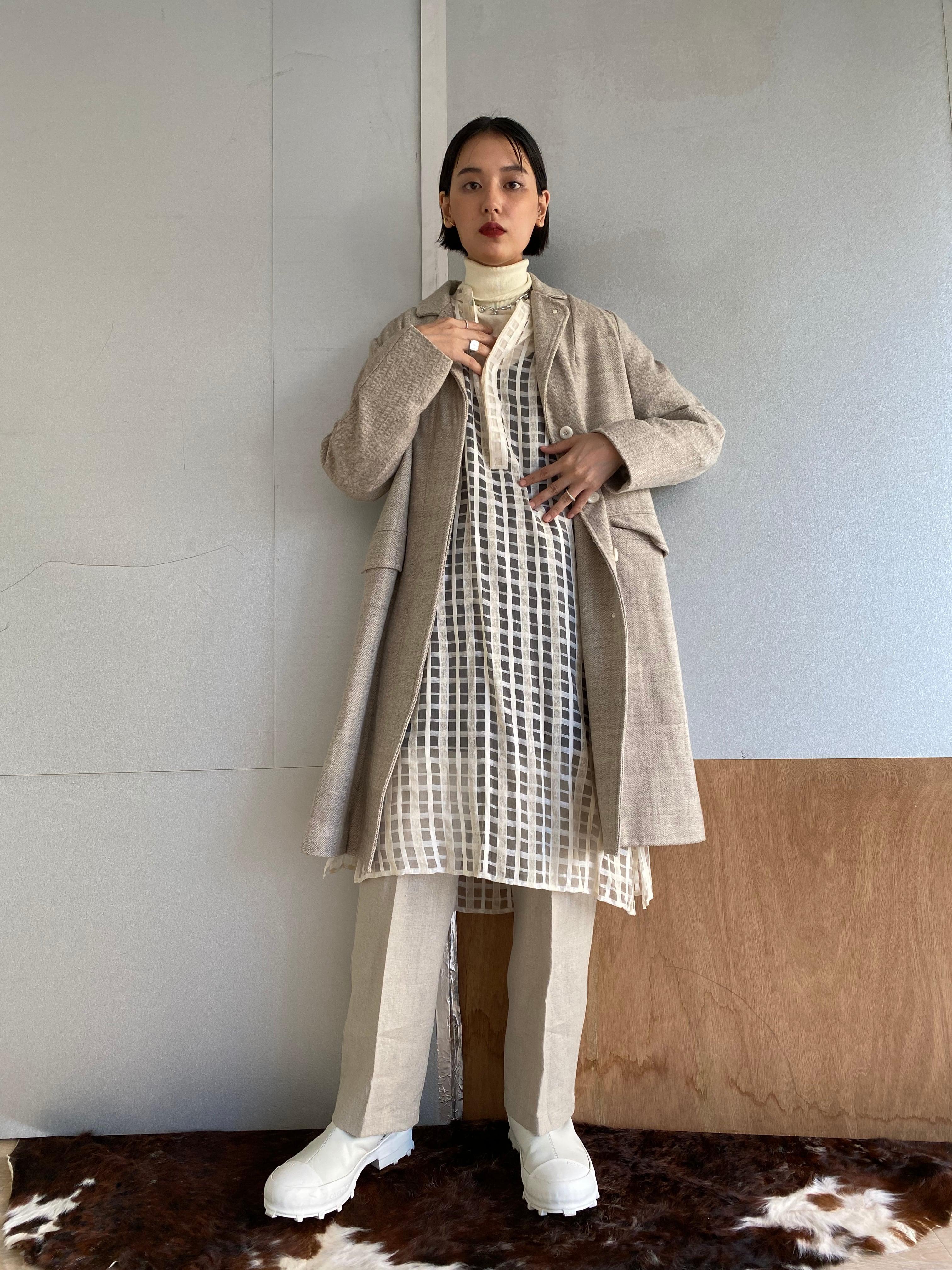 """Two style sleeve coat """"gray herringbone"""" khadi wool"""