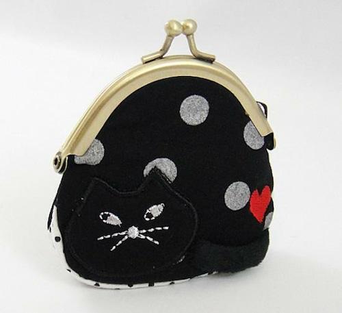 猫背がま口 黒猫(C-1-019)