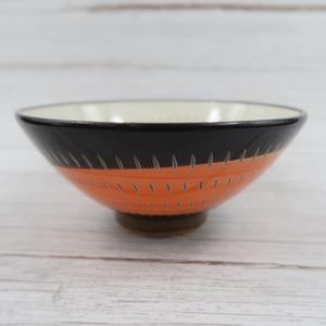 小石原焼 飯椀 トビカンナ 大 赤黒渦お茶碗 鶴見窯