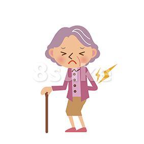 イラスト素材:腰を痛めるおばあちゃん(ベクター・JPG)