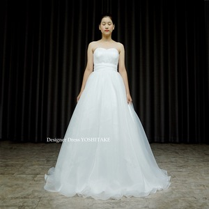 Aライン白ドレス.オーガンジー.挙式.カジュアルウエディング.フォトウエディング 在庫店舗・・・アトリエ●