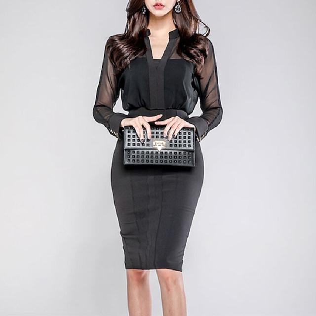 ワンピース 長袖 黒 セクシー OL/フォーマル 着やすい 高級感 上品らしく ブラック S M L